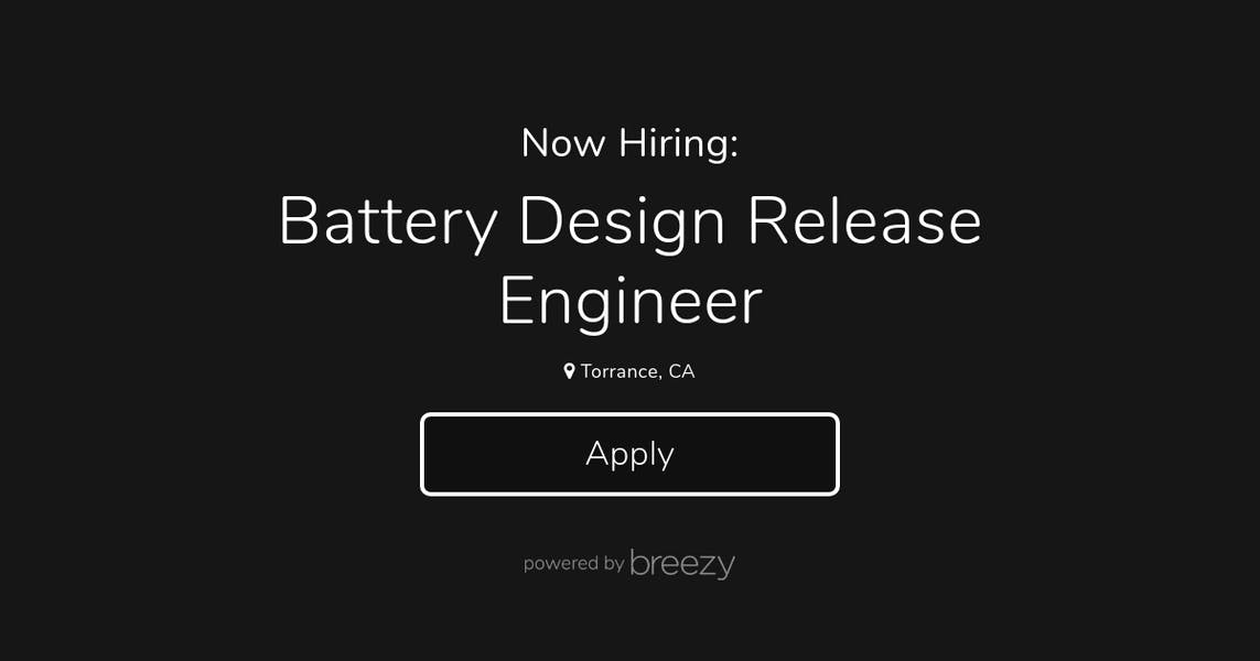 Battery Design Release Engineer At Canoo