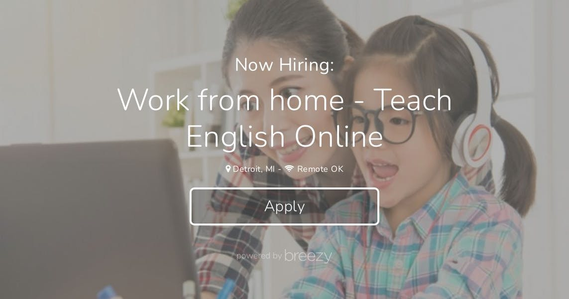 Work from home- Online ESL Teacher at YiYiEnglish